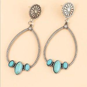 Silver Western Turquoise Hoop Earring